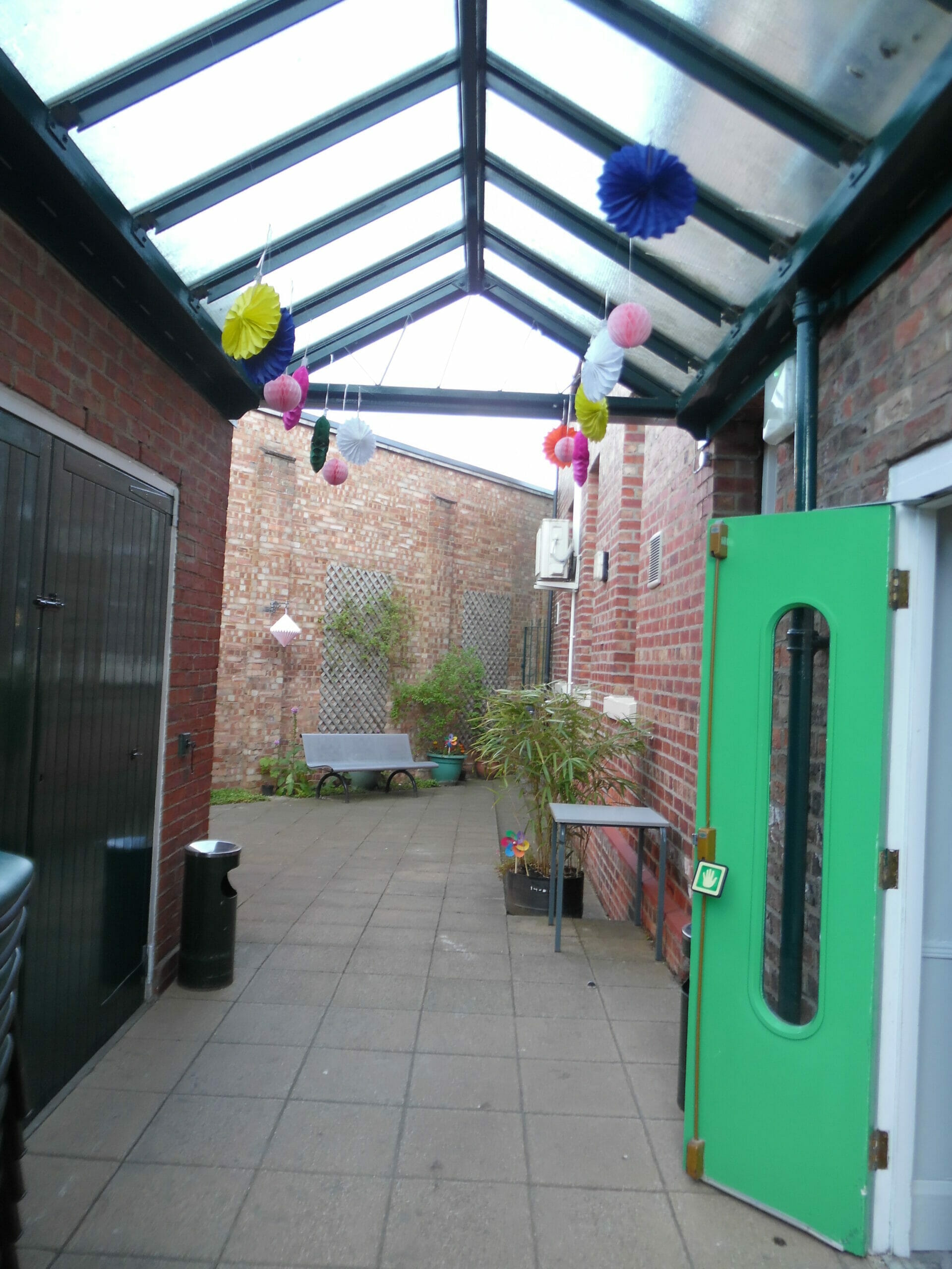 Photo shows outside courtyard